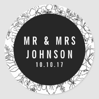 Modern black and white floral Mr & Mrs sticker