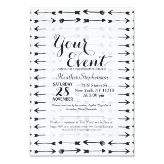 Modern Black and White Hand Drawn Arrows 9 Cm X 13 Cm Invitation Card