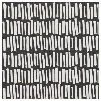 Modern Black and White Line Pattern Fabric