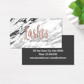 Modern Black and White Marble and Rose Gold Lashes Business Card