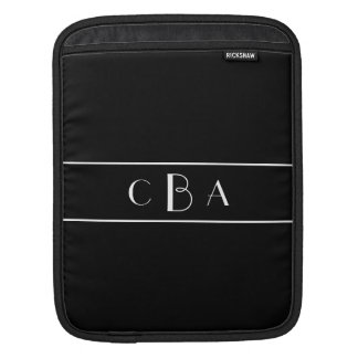 Modern Black and White Monogram Sleeves For iPads