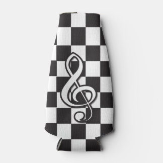 Modern black and white music clef on checkerboard bottle cooler