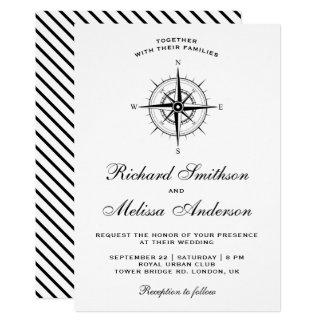 Modern Black and White Nautical Compass Wedding Card