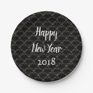 Modern Black and White New Year Paper Plate