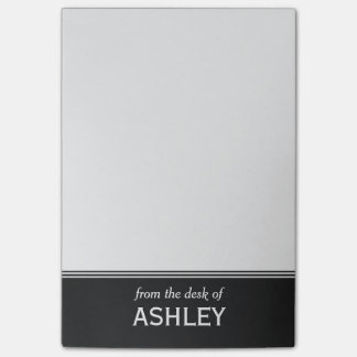 """Modern Black and White Personalised 4"""" x 6"""" Post-it Notes"""