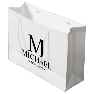 Modern Black and White Personalised Groomsman Large Gift Bag