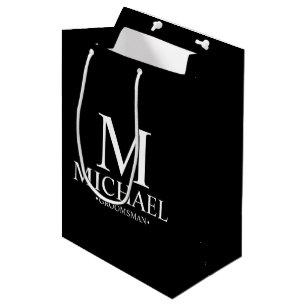 Modern Black and White Personalised Groomsman Medium Gift Bag