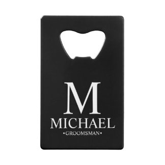 Modern Black and White Personalized Groomsman