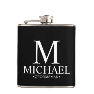 Modern Black and White Personalized Groomsman Flask