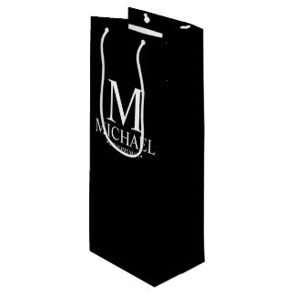 Modern Black and White Personalized Groomsman Wine Gift Bag