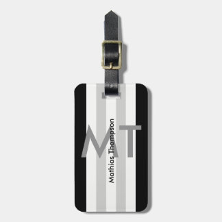 modern black and white personalized monogram luggage tag
