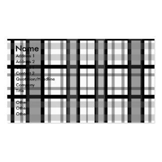 Modern black and white plaid business card
