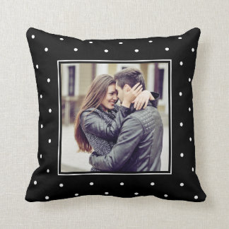 Modern Black and White Polka Dots with your Photo Cushion