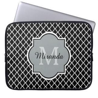 Modern Black and White Quatrefoil Monogrammed Name Laptop Sleeve