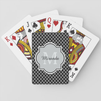 Modern Black and White Quatrefoil Monogrammed Name Playing Cards