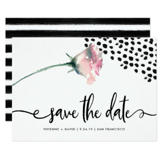 Modern Black and White Rose | Save the Date Card
