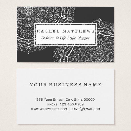 Modern Black and White Scribble Bohemian Mandala Business Card