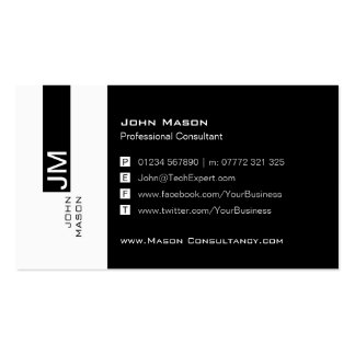 Modern Black and White Social Media Business Card