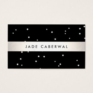 Modern Black and White Stars Business Card