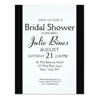Modern Black And White Stripe Bridal Shower Card