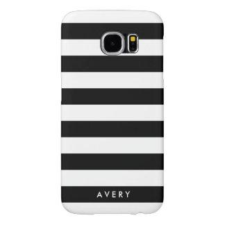Modern Black and White Stripe Personalized Case