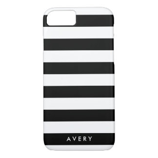 Modern Black and White Stripe Personalized Case