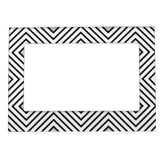 Modern Black And White Stripes Tribal Pattern Magnetic Picture Frame