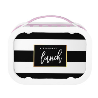 Modern Black and White Stripes with Faux Gold Lunchbox