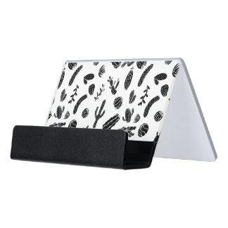 Modern Black and White Succulent Cactus  Pattern Desk Business Card Holder