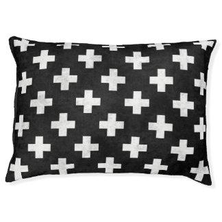 Modern black and white Swiss cross pattern pet bed