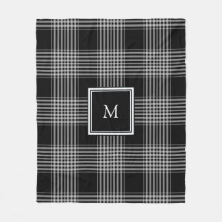 Modern black and white tartan family monogram fleece blanket