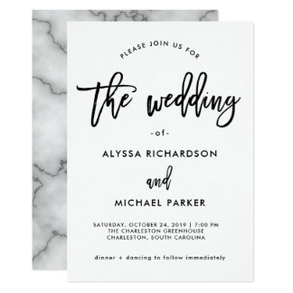 Modern Black and White Typography | Marble Wedding Card