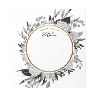 Modern Black and White Watercolor Floral Personal Notepad