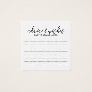 Modern Black and White Wedding Advice and Wishes Square Business Card