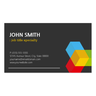 Modern Black and White with Colorful 3D Cube Logo Pack Of Standard Business Cards