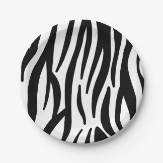 Modern black and white zebra stripes pattern paper plate