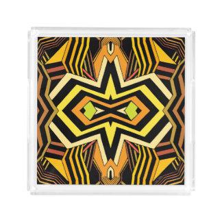 Modern Black and Yellow Geometric Acrylic Tray