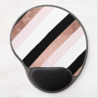 Modern black blush pink rose gold geometric stripe gel mouse pad