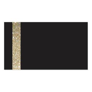 Modern black Business Card RSVP with gold line