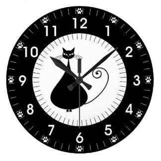 Modern Black Cat with Paw Prints Clocks