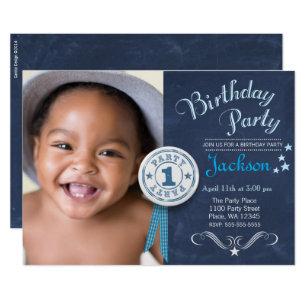 Modern Black Chalkboard First Birthday Party Boy Invitation