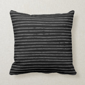 Modern Black Charcoal Gray Grunge Stripes Cushion