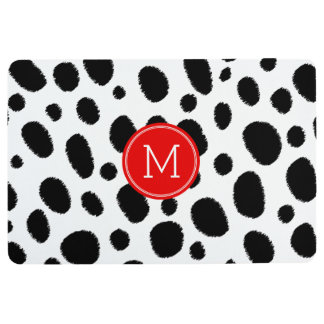 Modern Black Cheetah Spots Red Accent Monogram Floor Mat