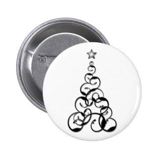 Modern Black Christmas Tree Art Buttons