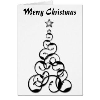 Modern Black Christmas Tree Art Greeting Card