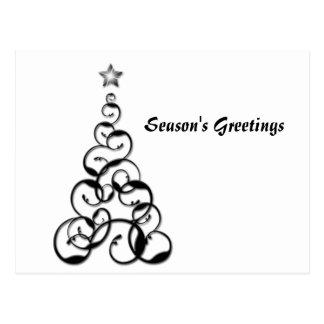 Modern Black Christmas Tree Art Postcard