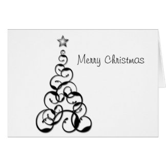 Modern Black Christmas Tree Greeting Card