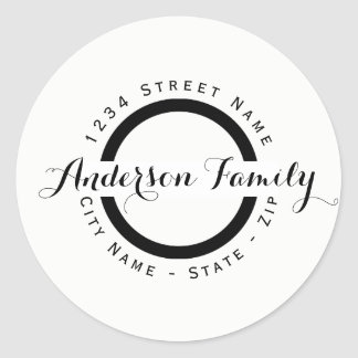 Modern Black Circle Return Address Label
