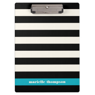 Modern Black, Cream & Turquoise Stripe Clipboard