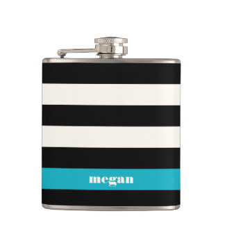 Modern Black, Cream & Turquoise Stripe Hip Flask
